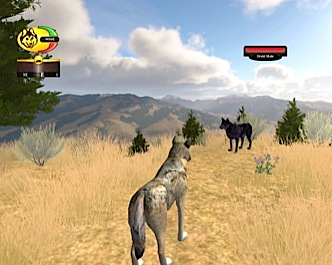 Screenshot of approaching a stranger wolf